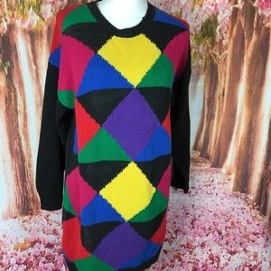Vintage Sweaters - Vintage colorblock sweater 80's retro